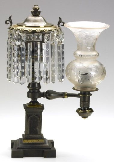 An Argand Lamp Single Arm Single Burner Etched Shade