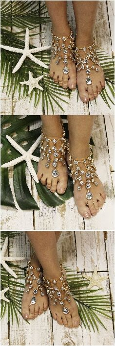 Barefoot wedding sandals, beach feet jewelry, crystal barefoot sandals PIN THIS FOR LATER!