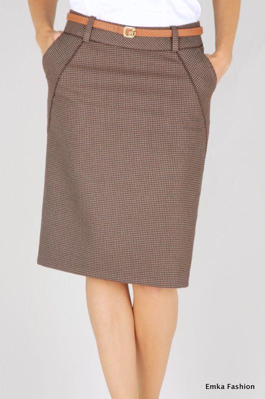 Прямая юбка с шестью вытачками