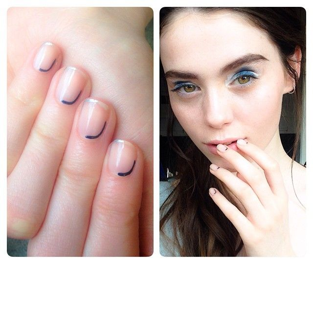 Chic minimal nail art by me; negative space, silver and navy blue, alternative French on model Hannah @ Premier