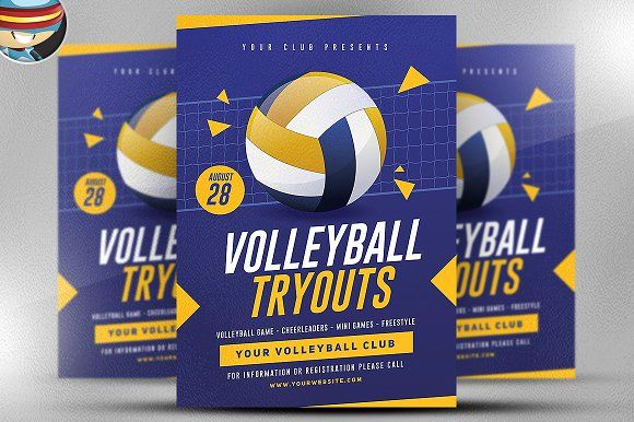 Volleyball Tryouts Flyer Template By Flyerheroes On Creativemarket Flyer Flyer Template Templates