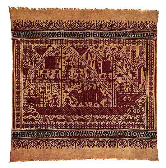 Ceremonial Textile (Tampan) Date: 19th century Geography: Indonesia, Sumatra, Lampung province, Semangka Bay region Culture: Pasisir people Medium: Cotton