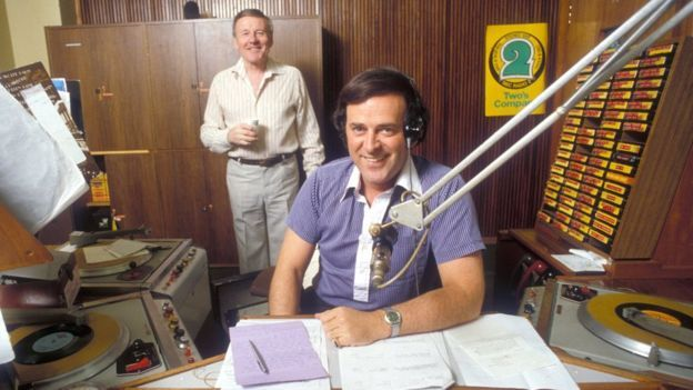 Sir Terry Wogan and Jimmy Young in the BBC Radio 2 studios
