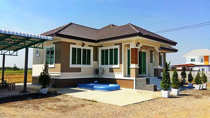 Review Single Story House Plan With A Living Area Of 105 Square Meters Myhomemyzone Com Bungalow House Design House Plan Gallery Affordable House Plans