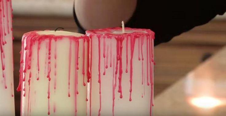 Wil je niet té veel geld spenderen aan Halloween, maar toch een creepy interieur creëren? Maak dan deze bloederige kaarsen. Het enige wat je nodig hebt zijn drie (of meer) grote witte kaarsen en één smalle rode kaars. Gemakkelijk, goedkoop en griezelig! Ontdek in dit filmpje hoe het moet.