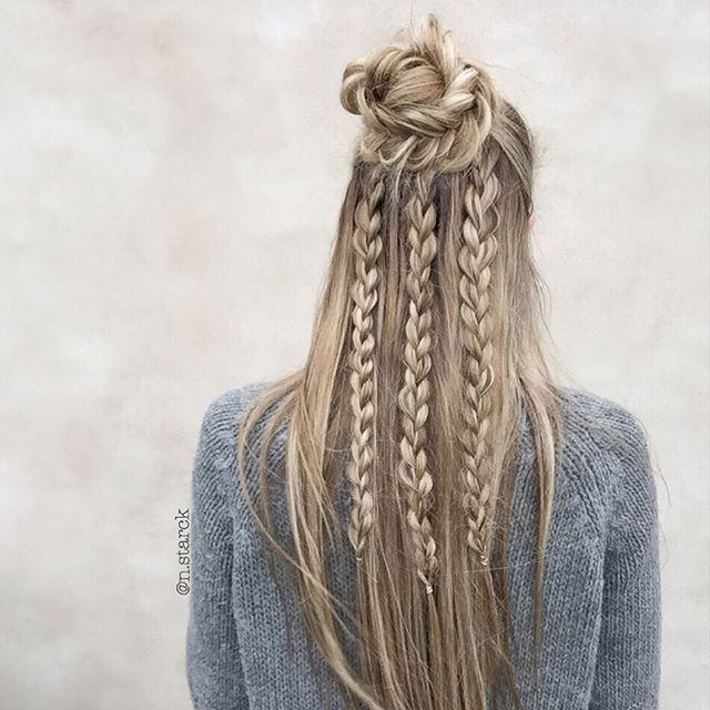 Half up Fishtail bun with 3-strands