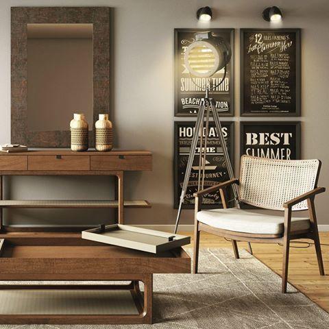 A madeira é um material nobre e atemporal que através de seu toque suave, agrega conforto e aconchego à sua sala de estar.  Peças: Mesa e poltrona Artcasa. #grupoespacoa #artcasamoveis #madeira #wood #instadecor #instadesign #homedecor #decor