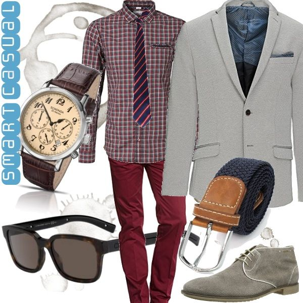 A metà strada fra il dandy e l'hipster è l'outfit smart casual indicato per ambienti di lavoro meno formali, per il tempo libero o per un pranzo con la propria ragazza.   I chinos bordeaux, la camicia a quadri e la cravatta a righe creano un mix davvero originale. Abbiniamo la cintura blu, il blazer e i chukka boot grigi per  riportare stabilità e armonia al look. Infine occhiali tartarugati e orologio con cinturino in pelle per un tocco di stile retro.
