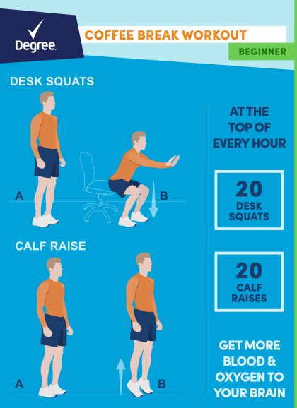 Pledge to get moving - see how to fit in a workout while you're at work with these easy tips from Degree and Walmart