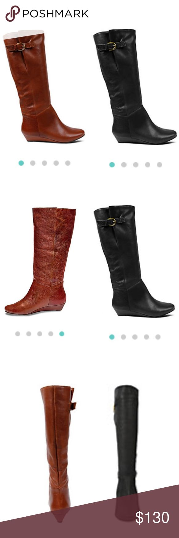 Steve Madden Intyce Boots (2 for the piece of 1) Two Pairs of Steve Maddwn Boots in Size 8 Retail at $149.95 each Cognac Leather | Black Leather   Lightly worn with love and care  The INTYCE is just plain gorgeous! Show off the buckle detail by pulling them over your skinny jeans, or pair them with your favorite mini dress for a full-blown fashion look.  Leather upper material Man-made sole 1 inch sliver wedge Approx. 20 inch shaft circumference 15.75 inch shaft height Steven by Steve Madden…
