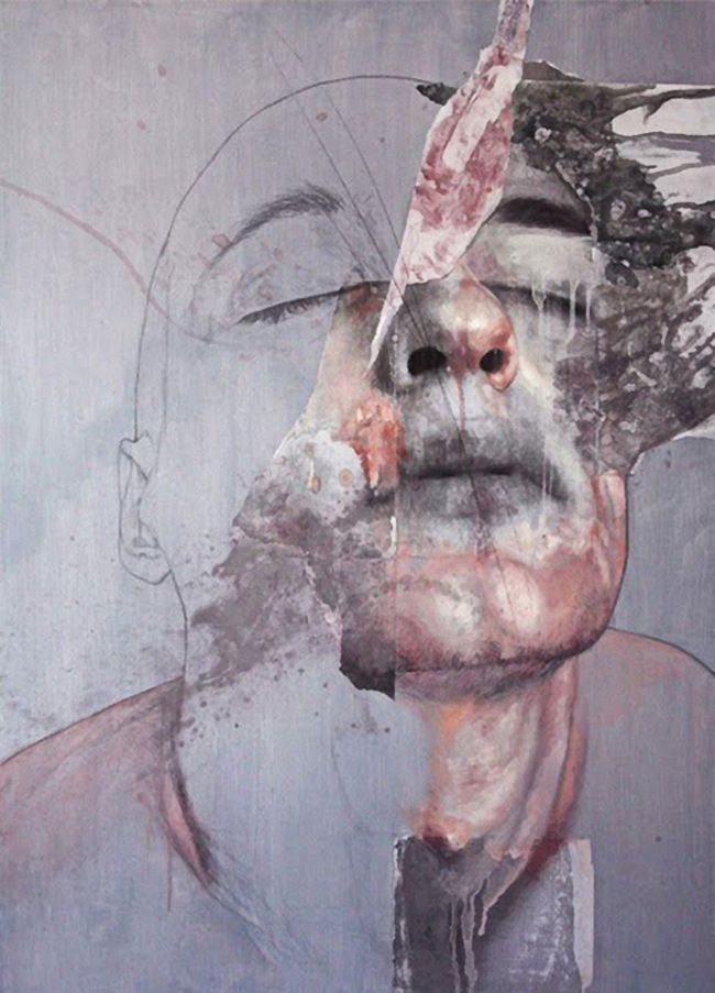 Artist: Jessica Rimondi {abstract male head portrait painting}