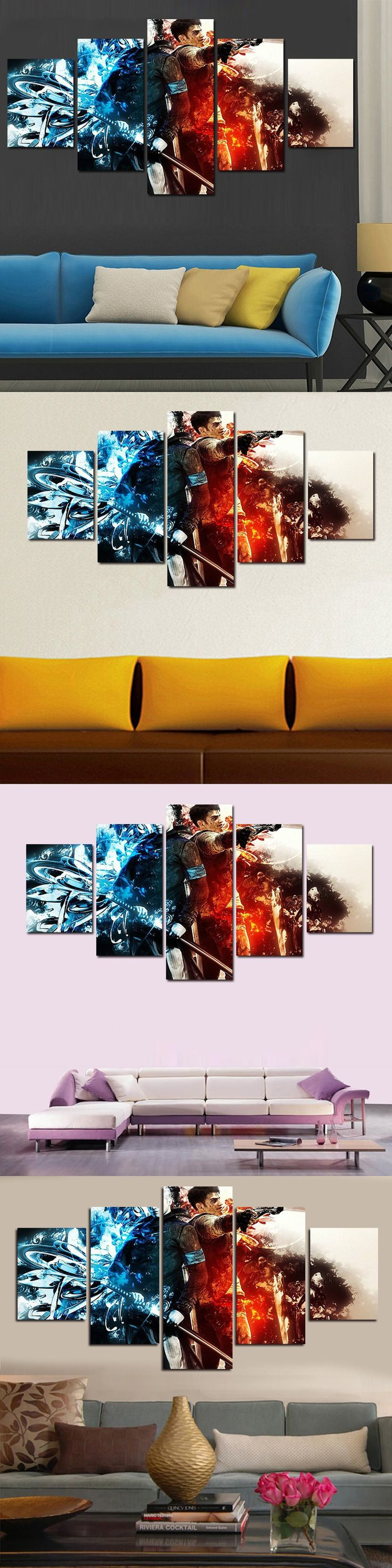 Hot Sell 5 Panel Cuadros Home Decor Modern Printed Movie Scarface Painting Canvas Wall Art Home Decor For Living Room No Frame