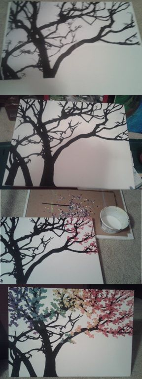 How to make a polka dot tree on canvas!  Step 1 Print off a silhouette of a tree. (Mine took 4 pages)  Step 2 Glue on the printed tree.  Step 3 (optional) Paint over the tree in black and white to make an even background color  Step 4 Hole punch all of the colors leaves you want. (Use a 3 hole punch).  Step 5 Make a 50/50 glue & water solution.  Step 6 Spread the glue mixture and apply the leaves. Use an old paint brush to apply leaves  Step 7 Apply a coat of matt modge podge to secure…
