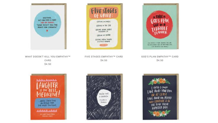 It's hard to know what to say when a friend is dealing with a really awful illness or loss. And a lot of the things we blurt out may end up sounding more hurtful than we mean them to. That's why we love this series of cards that say what sick and grieving people really want to hear.