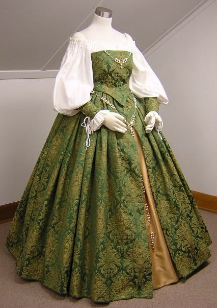 Green Tapestry Elizabethan Gown 1558 -1603