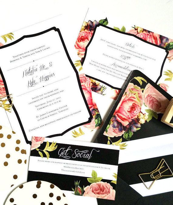 Personalized Wedding Invitation Package - Bohemian Chic with Black and White Stripes & Floral Accents