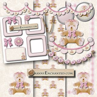 "Free Digital Scrapbook Kit: ""Teddy Bear in Pink"" Kit 