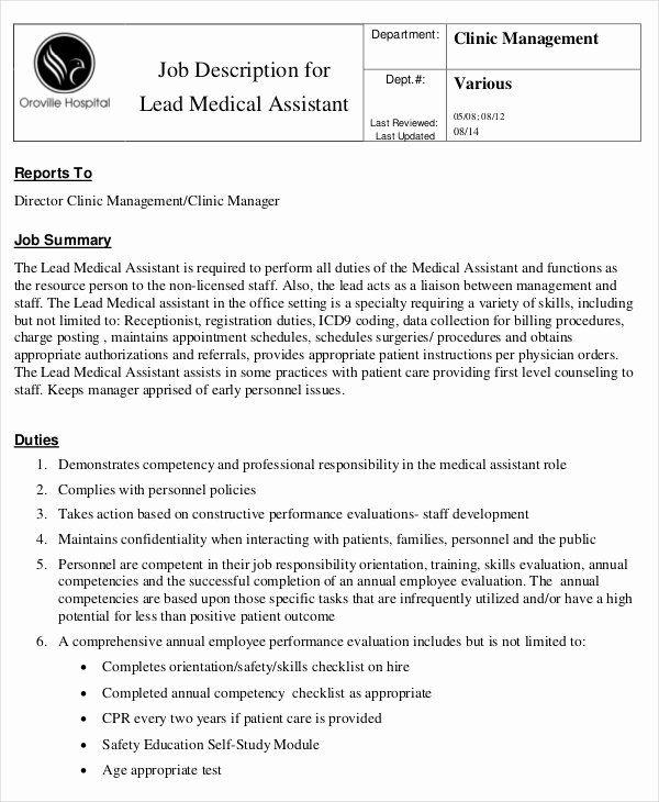 23 Medical Office Assistant Job Description Resume In 2020
