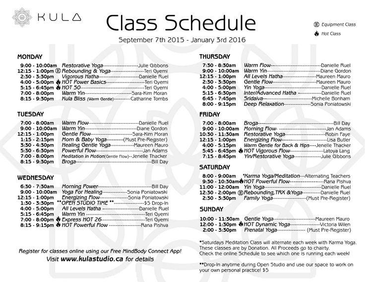 ~Kula Class Schedule September 7th 2015-January 3, 2016~
