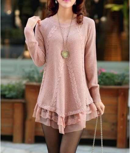 blusa moda outono inverno fio crochê importado