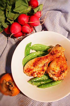 Ungsgrillad kyckling med sockerärtor, fräscht 5:2 dieten recept