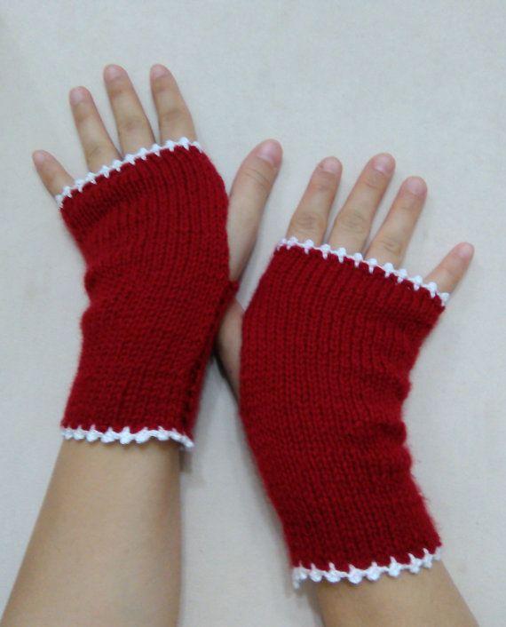Red Fingerless Gloves Women GlovesKnitting Gloves by SELINCE
