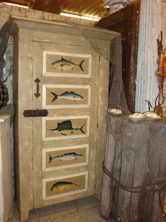 Amish Painted Saltwater Fish Cabinet