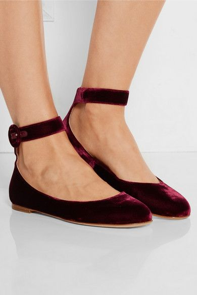 Burgundy Velvet, Gianvito Rossi's flats are an elegant take on the classic ballet shoe.