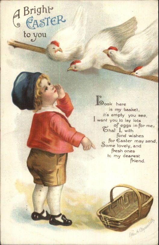 Ellen Clapsaddle Easter - Little Boy Wants Eggs From Chickens c1910 Postcard | eBay