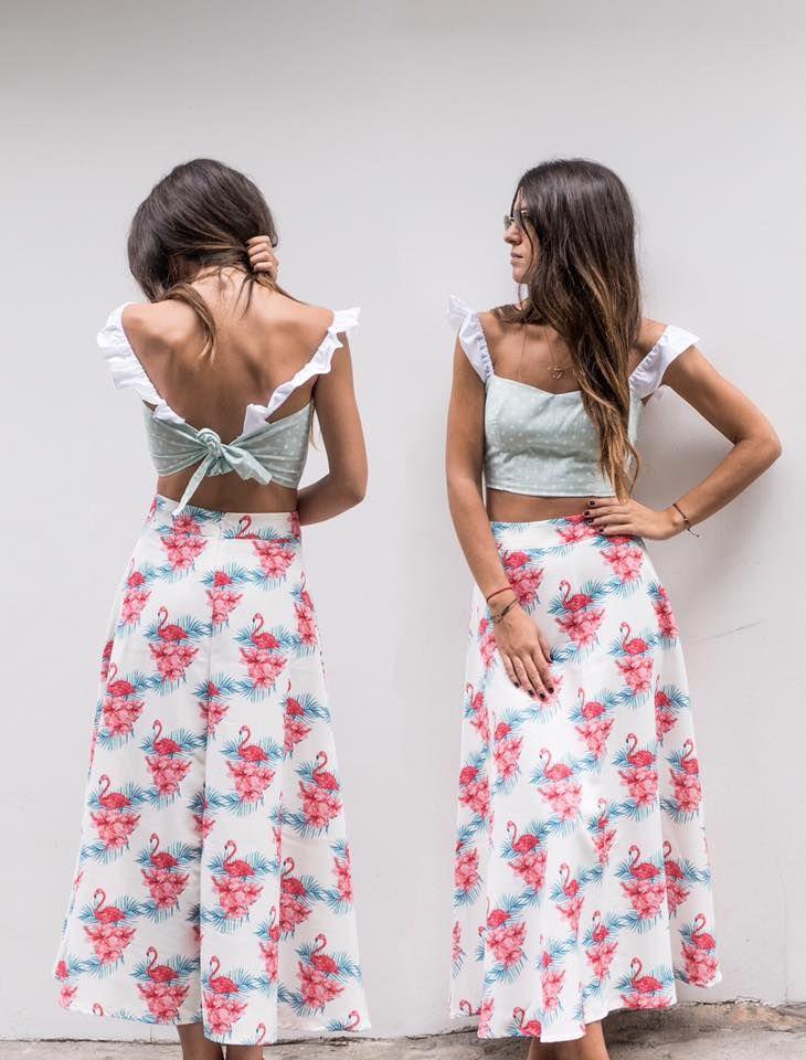 """THE LOVERS"" bustier // mint with polka dots and ""YUKA"" skirt with flamingos ON SALE!!  #karavan #karavanclothing #karavangirl #mermaidsandrascals #ss16 #yuka #midiskirt #loversbustier #love #summer #summer16 #flamingos #pinkflamingos #greekdesigners"