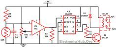 Wireless Switch Circuit using CD4027. Source Link: http://www.electronicshub.org/wireless-switch-circuit-using-cd4027/
