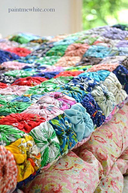 gathered quiltIdeas, Sewing, Yo Yo Quilt, Diy Crafts, Square Quilt, Yoyo Quilt, Yoyoquilt, Puff Quilt, Squares Yoyo