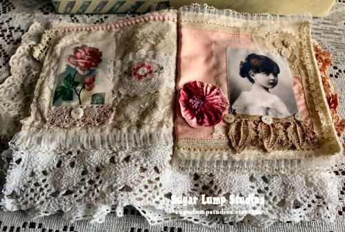 fabric lace book by Sugar Lump Studios - Whispers of Pink Fabric Collage Journal by Nancy Maxwell James