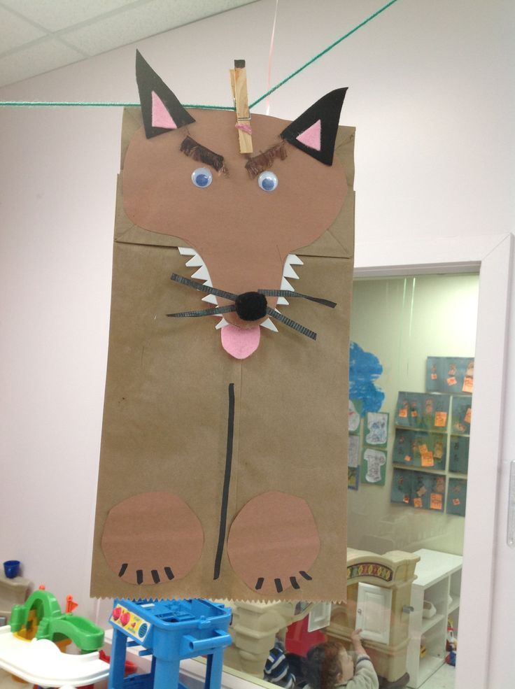 Theme: little red riding hood Craft: wolf puppet- Wolf body could also be a cut out shape instead of a bag for a collage lesson