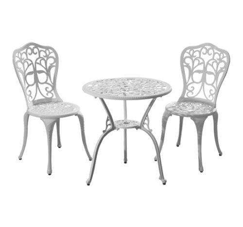 3Pc Cast Aluminum Bistro Table Chair Set All Weather 640 x 480
