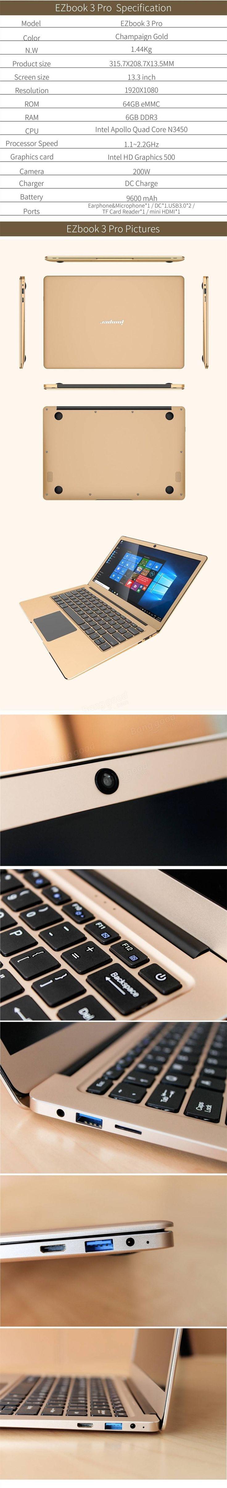 JumperEZBOOK3PRONotebook13,3 Zoll 6G / 64G Windows10 Intel Apollo See N3450 Laptop