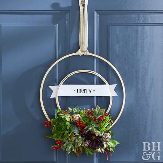 This easy-to-make embroidery hoop wreath is the perfect way to incorporate trendy succulents into your holiday decorating this season.
