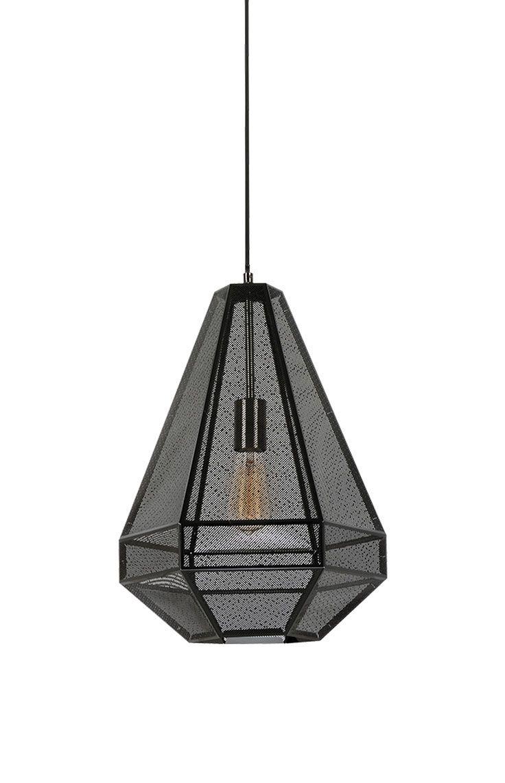 The Beacon Lighting Elliot tall 1 light 460mm geometrical smoke metal pendant with smoke mesh and black flex.