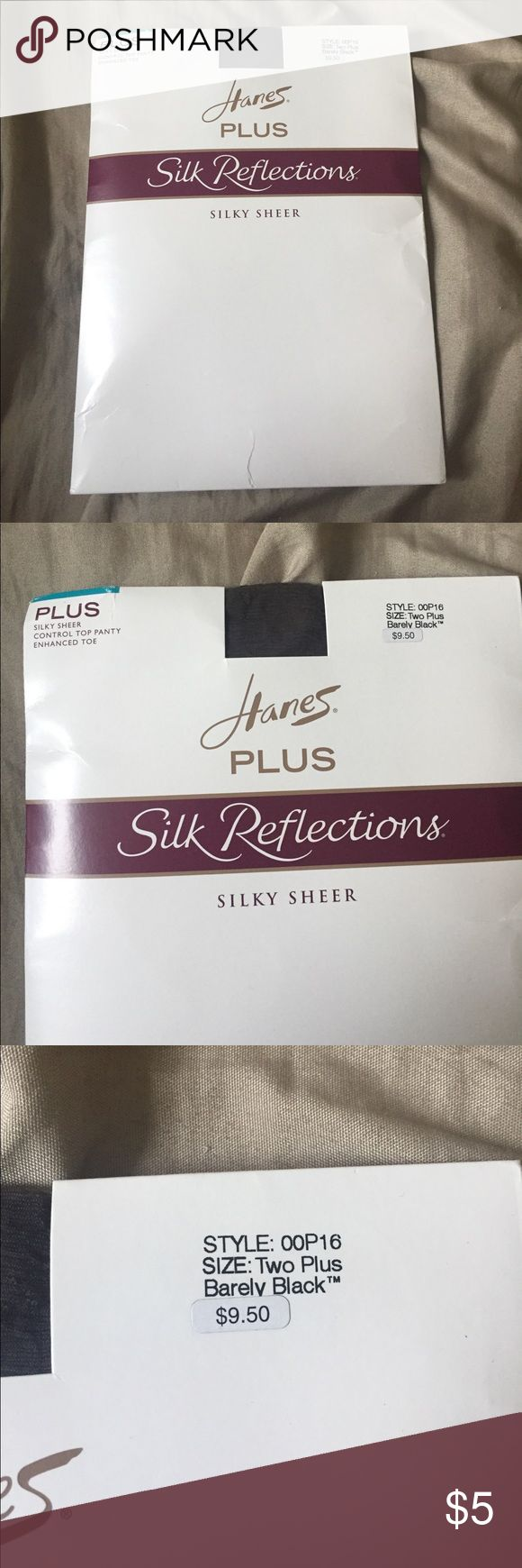 Hanes Plus Silk Reflection Silky Sheer Pantyhose Pack of 1 plus size black silky sheer pantyhose from Hanes. Never been worn or opened before. Please feel free to leave any questions or comments down below! Thanks! Hanes Accessories Hosiery & Socks