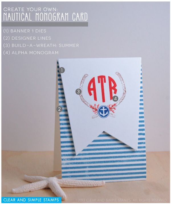 Nautical Monogram Card | Clear and Simple Stamps Alpha Monogram and Build-a-Wreath: Summer - full supply list on blog