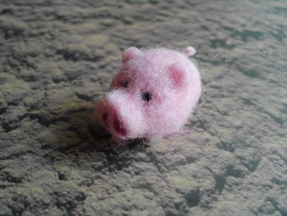 Pink Teacup Pig Animal Figurine Soft Sculpt Ooak Needle ...