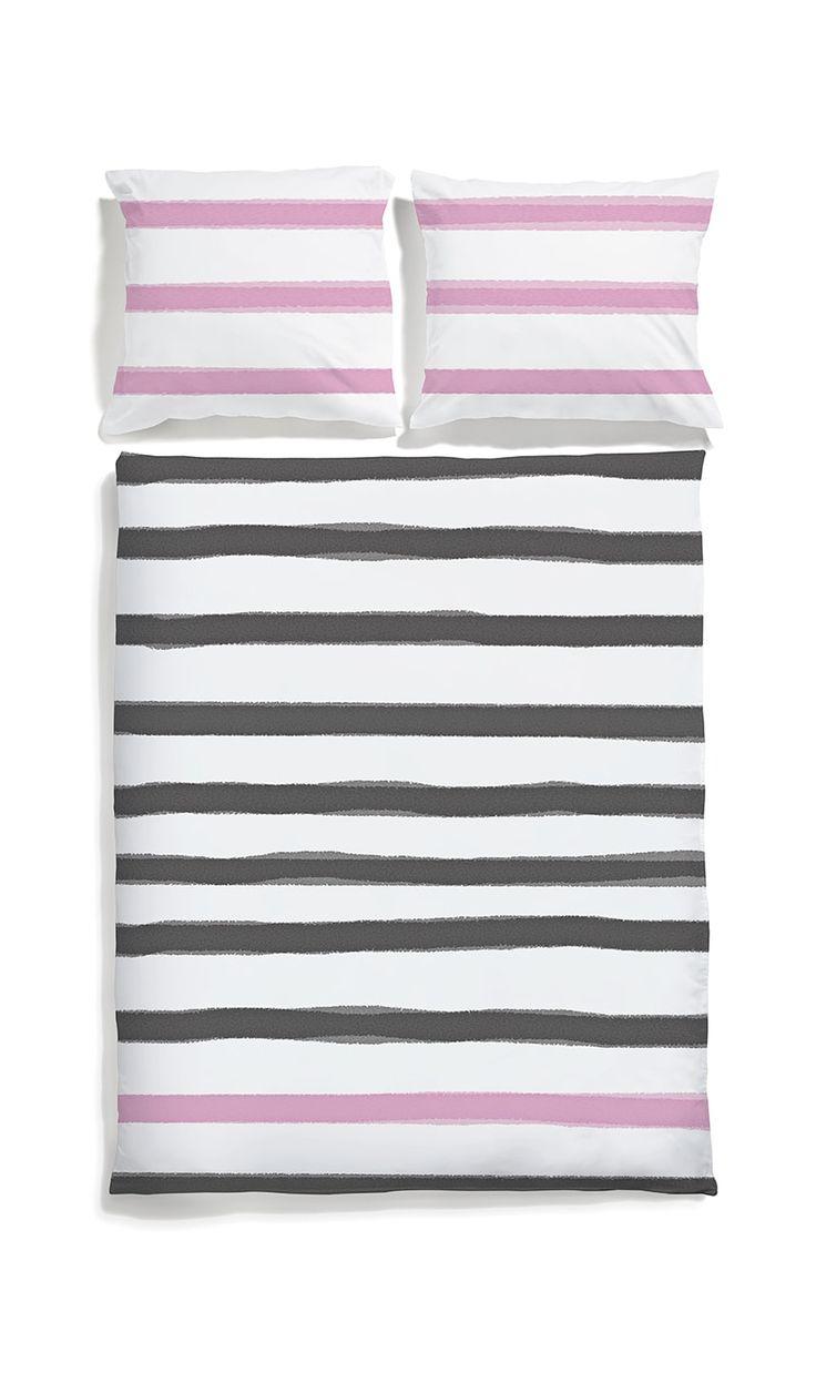 White pocket bedding #stripes #black #pink #bedlinen