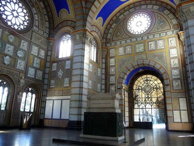 The Cementerio Monumental (Monumento Cemetery) of Milan is a tourist point of the city because there lie many celebrities of Italian art and also for its marvellous architecture
