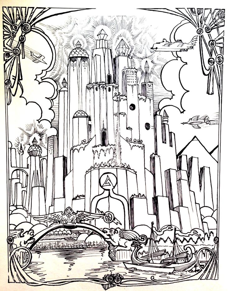 free coloring page coloring city atlantide the city of atlantide