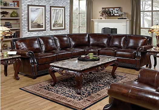 Shop For A Warrick Leather 7 Pc Sectional Living Room At
