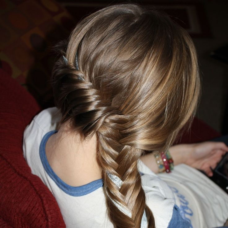 French braided fishtail on the side with ribbon