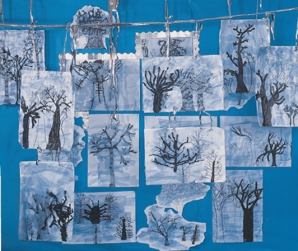 Wintry Tree Display using tissue paper; Belair - Silhouette Trees