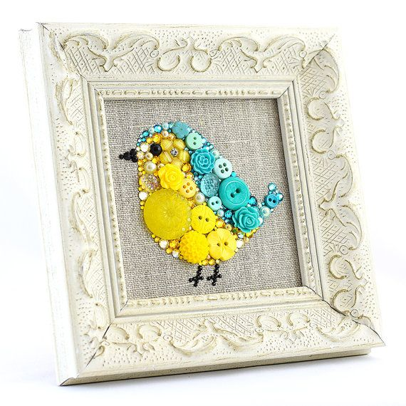 Framed Button Art Baby Bird, Small Bird Wall Hanging, Bird Home Decor, Kids'…