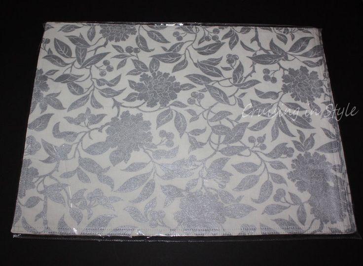 Ralph Lauren Table Linens Part - 32: Ralph Lauren New Designer Cloth 4 PLACEMATS Pineview Silver Floral NWT  14x19. Table LinensRalph ...