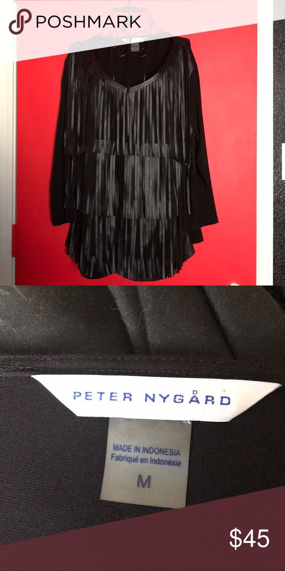 Peter Nygård fringe blouse Really cool fringe blouse by Peter Nygård! Sleeves are 3/4 length and fringe is only on the front of the shirt Peter Nygard Tops Blouses